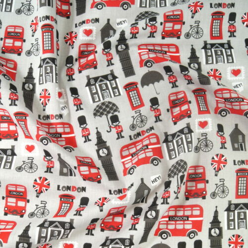 London Big Ben Double Decker Phone Box Foot Soldier Polycotton Fabric Hey
