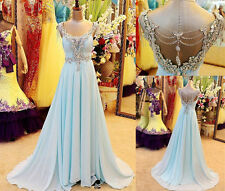 2016 New Chiffon Crystal Long Prom Dress Backless Party Pageant Gowns Custom