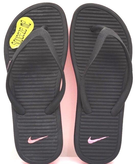 3d7fecb2b703bd Girls Size 1 Youth Nike Flip Flops Sandals Solarsoft 2 Thong Black Hot Pink