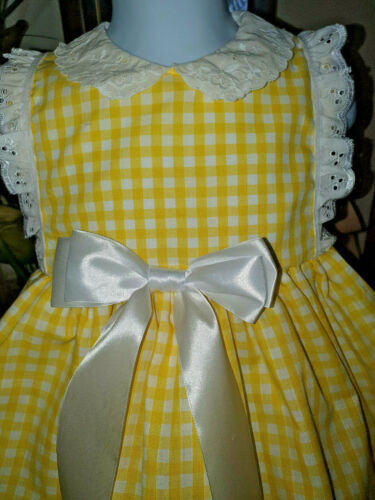 12-18Mths /& Panties Turquoise or Lemon /& White Frilly Girls Dress Age 6-12Mths