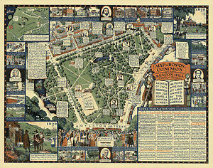 Boston Common Map Historical Pictorial Map Boston Common Streets Beacon Hill Art