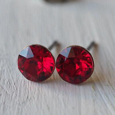 Nuovo Titanio Orecchini A Bottone Con 6mm Swarovski Pietre In Scarlet/rosso Orecchini-