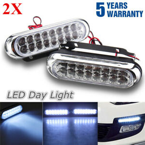 2X-16-LED-Daytime-Running-Lights-Car-Driving-DRL-Fog-Lamp-Light-Super-White-12V
