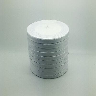 "New 50 Yards 3/8"" 10mm White Bulk Satin Ribbon Craft sewing Supplies crafts"