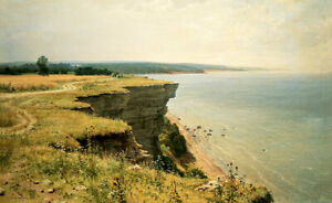 Dream-art Oil painting 希施金风景油画作品 海边悬崖 landscape paintings cliff by the sea art
