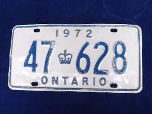 ONTARIO-LICENSE-PLATE-1972-47-628-VINTAGE-CANADA-MUSCLE-CAR-SHOP-MAN-CAVE-SIGN
