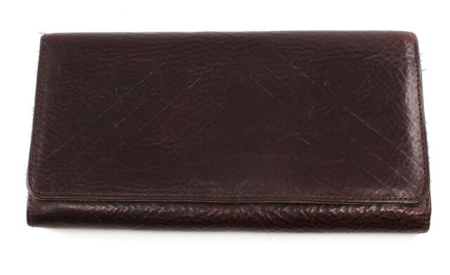 DKNY Burgundy Leather Checkbook Ladies Clutch Wallet