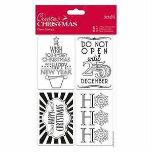 Papermania Love Santa Merry Christmas Rubber Stamps Decorations Baubles