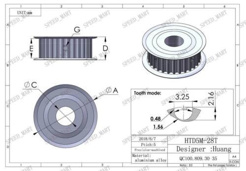 5M28T HTD5M Timing Belt Pulley 28 Teeth 20mm Bore 16mm width Stepper Motor