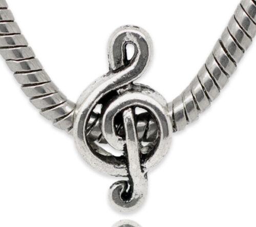 Großlochperle Modulperle Perle 18x9 mm Notenschlüssel Antik-Silber 2x #01.00101