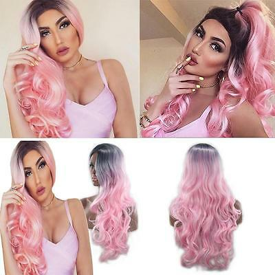 Women Pink Lace Front Wig Black Roots Long Curly Resistant Synthetic Silky Hair