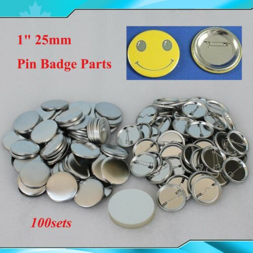 """DIY 100Sets 1/"""" metal Pin Badge Button Parts Supplies for Pro Maker 25mm"""