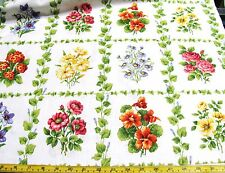 BY THE PANEL FLOWER BLOCKS QUILT WALLHANGING ALL COTTON FABRIC BRAEMORE TEXTILES
