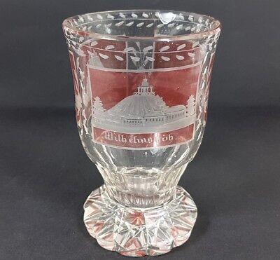 Delicious Souvenir Ansichten Bicchiere Vetro Macchiato Intorno Al 1850 Al251 Beautiful And Charming