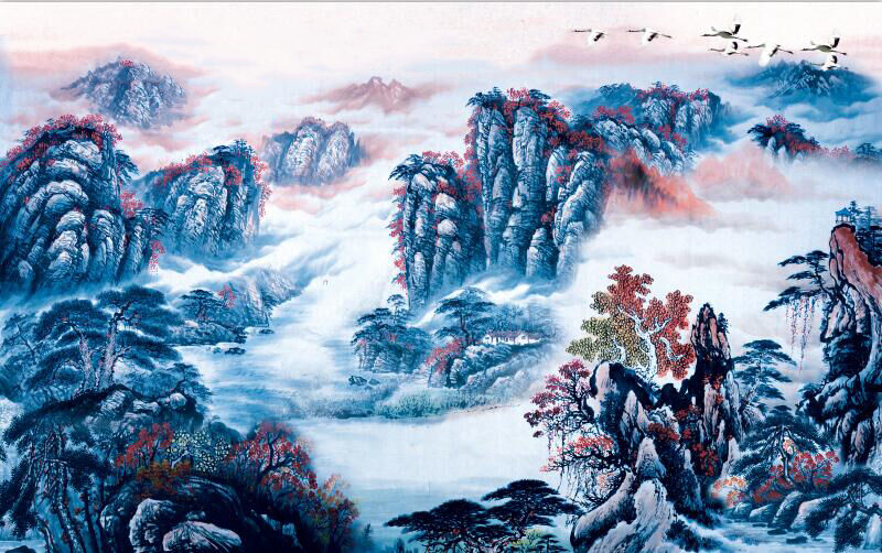 3D Mountain bluee Bird scenery Wall Paper Print Decal Wall Deco Indoor wall Mural