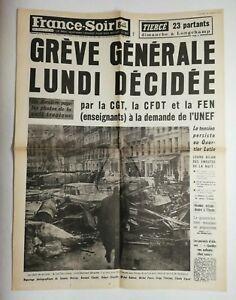 N709-La-Une-Du-Journal-France-soir-13-mai-1968-greve-generale-lundi-decidee
