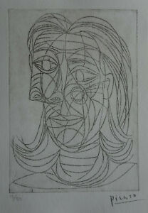 Limited-edition-CUBISM-etching-Bust-of-a-woman-signed-Pablo-Picasso-w-DOCS