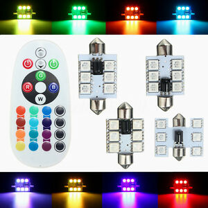 2PCS-RGB-DEL-feston-Map-Dome-Interieur-16-Couleurs-Lumiere-Ampoules-31-mm-36-mm-39-mm-42-mm