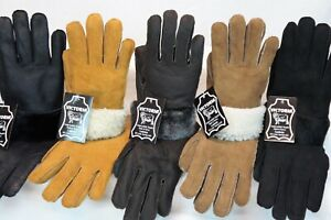 REAL GENUINE SHEEPSKIN SHEARLING LEATHER MITTENS UNISEX Fur Winter GLOVES S-2XL