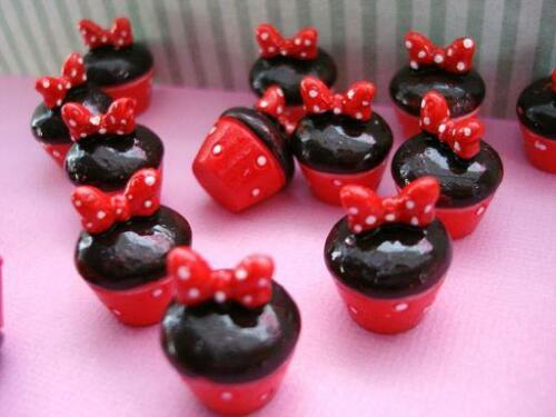 20 Chocolate Red Bow Cupcake Resin Miniature//cake//Craft//Embellishment//decor B140