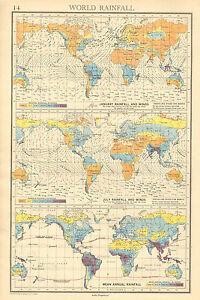 1942 map chart world rainfall winds january july mean annual image is loading 1942 map chart world rainfall amp winds january publicscrutiny Images