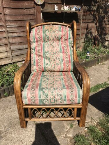 Amazing Vintage Large Bamboo Rattan Boho Arm Chair With Floral Design Cushioning