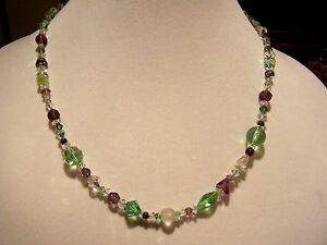 Artisan Purple, Green and Clear Antique/Vintage and Swarovski Bead Necklace