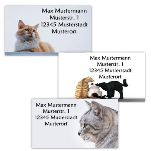 40 Adressetiketten Adressaufkleber, oder 10 Visitenkarten - Motiv Katzen