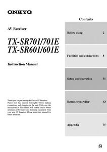 onkyo integra tx sr601 receiver owners instruction manual ebay rh ebay com Onkyo TX- SR608 Onkyo TX- SR600