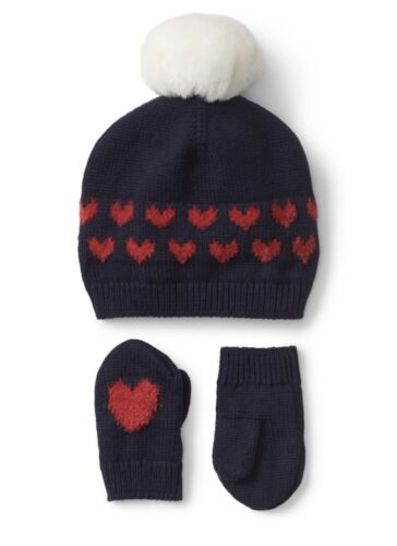 Gap Baby Girl Heart Pom Pom Hat and Mitten Set Red Navy Blue Size 0-6 Months NWT