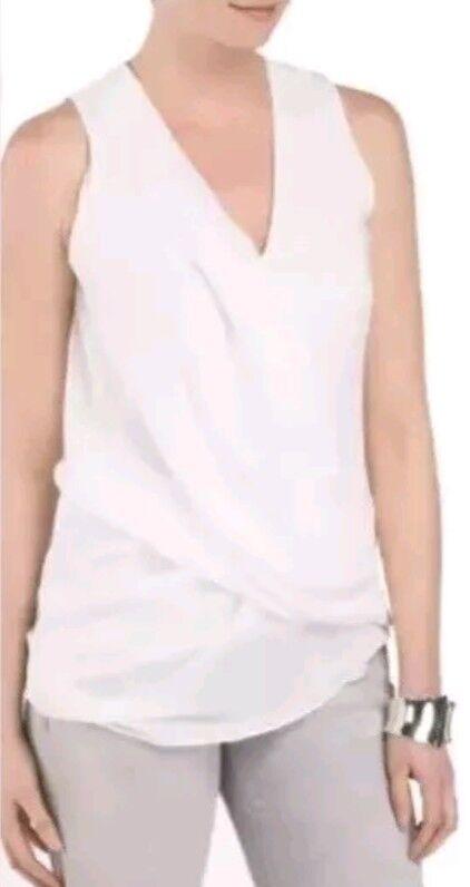 Helmut Lang Soft Shroud Overlap Drape Asymmetrical Weiß Top Sz M NWT