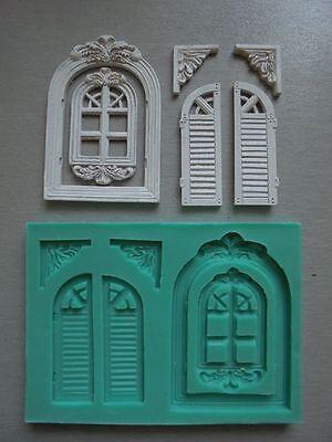 Silicone Mould VINTAGE WINDOWS Sugarcraft Cake Decorating Fondant / fimo mold