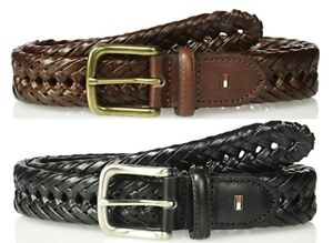 3d74789f0c96d1 New Tommy Hilfiger Men s 32mm Casual Braided Belt Black Tan Leather ...