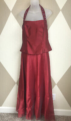 Sz L 12 14 Sleeveless Red Formal Cocktail Party Wedding Gown Evening Long Dress