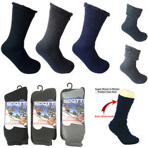 Women Heated Sox Thermal Winter Heavy Duty Fur Lined Insulated Crew Thick Socks