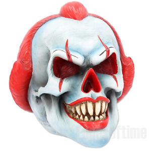 CLOWN-PLAY-TIME-SKULL-FIGURINE-ORNAMENT-HALLOWEEN-SCARY-GOTHIC-18CM