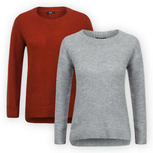 Womens-Ladies-Long-Sleeve-Rib-Trims-Dip-Hem-Soft-Knit-Jumper-Grey-Rust-Sweater