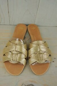 4fb056db37f Details about UGG CHANEZ METALLIC GOLD WOVEN LEATHER FLATS SANDALS SLIP ON  WOMENS US 11 NIB