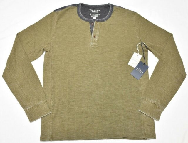 Lucky Brand Thermal Henley Men's Sz M Venice Burnout Shirt Tee Olive Green N834
