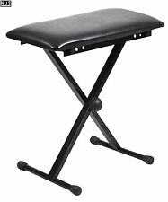 NJS Adjustable Piano or Keyboard Stool Bench with X-Type Frame Black
