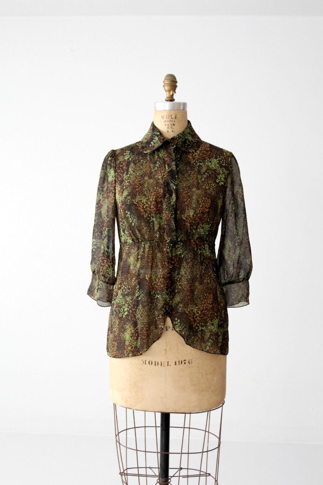 Tuleh silk blouse Grün and schwarz semi sheer Größe 8