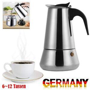 6~12 Tassen Espressokocher Kanne Espressokanne Espresso Maker Kaffee Edelstahl