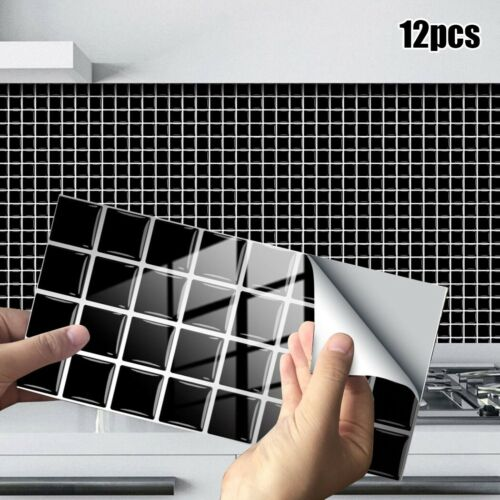 12PCS Self Adhesive Mosaic Tile Sticker Kitchen Bathroom Wall Stickers Decor