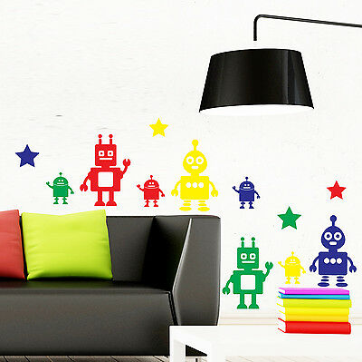 Robots Wall Stickers Set of 8 and Stars - Kids Droid Decoration Decal