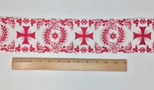 Vintage-Vestment-Rojo-Cruz-en-Blanco-8-9cm-Banda-Vendido-por-Patio