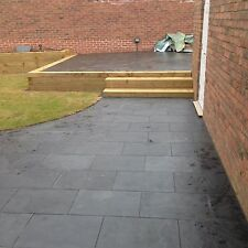 Black Slate Patio Slabs Paving Garden 10m2 600x400mm 20mm Thick Free