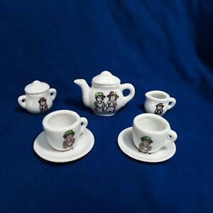 9 Scale 1:12 Piece Blue /& White Floral Ceramic Coffee Set Dollhouse /&