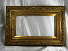 Outstanding ANTIQUE AESTHETIC Gold Gilt Wood & Gesso PAINTING FRAME 7.5 X 14