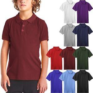 Kids-Polo-Shirts-School-Uniform-Cotton-Short-Sleeve-Pique-Boys-Girls-Tee-Casual