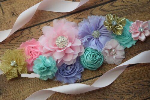 maternity sash Maternity Sash wedding sash gold pink aqua Sash,#2 flower Belt